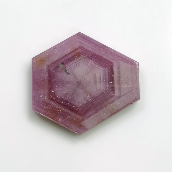Rosemary Sheen PINK SAPPHIRE Gemstone TRAPICHE : 22.50cts Natural Untreated Sapphire Hexagon Shape Flat Slice 23.8*18mm 1pc For Ring/Pendant