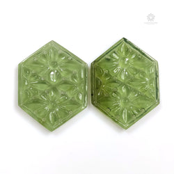 ANTIGORITE Green SERPENTINE Gemstone Carving : 39.00ct Natural Untreated Serpentine Gemstone Hand Carved Hexagon 35*26mm Pair For Jewelry