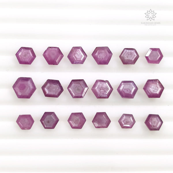 Raspberry Sheen PINK SAPPHIRE Gemstone Cut September Birthstone : 16.80cts Natural Untreated Sapphire Hexagon Normal Cut 5.5*4.5mm - 7.5*6.5mm 18pcs For Jewelry