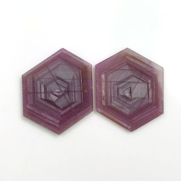 Rosemary Sheen PINK SAPPHIRE Gemstone Slices : 70.50cts Natural Untreated Sapphire Hexagon Shape Flat Slice 34*28mm Pair (With Video)