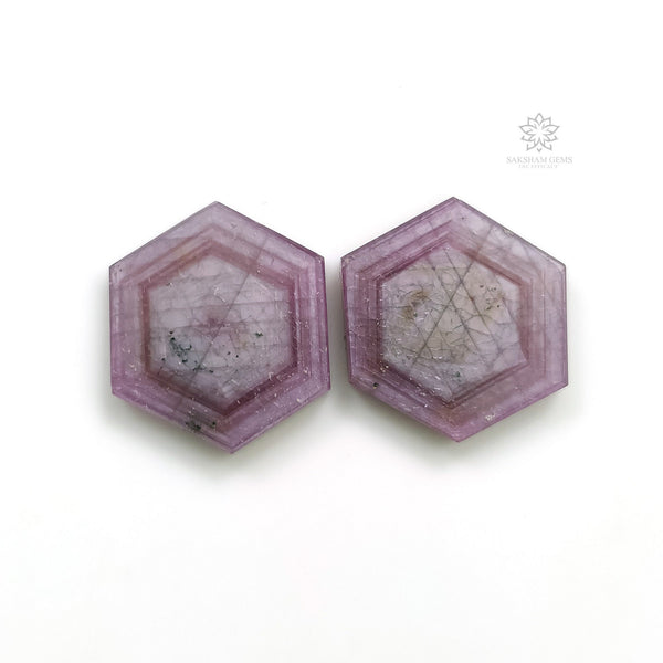 Rosemary Sheen PINK SAPPHIRE Gemstone Slices : 28.95cts Natural Untreated Sapphire Hexagon Shape Flat Slice 19*16mm Pair (With Video)