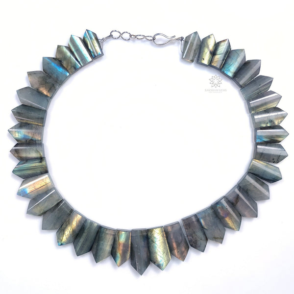 "Rainbow Flashing LABRADORITE Gemstone Neclace : 13"" Natural Untreated Labradorite Gemstone Uneven Shape Cabochon Choker Necklace Gift"