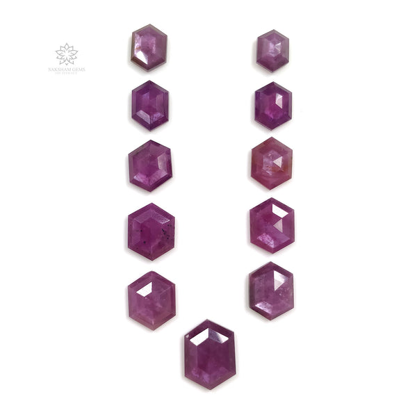 Raspberry Sheen PURPLE PINK SAPPHIRE Gemstone Cut September Birthstone : 68.50cts Natural Untreated Sapphire Hexagon Step Cut 12*9mm - 18*13mm 11pcs For Jewelry