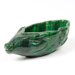 GREEN AVENTURINE Gemstone Sculpture : 146.00gms Natural Aventurine Gemstone Bull's Face Hand Carved BOWL Sculpture Figurine 100*57mm*41(h)