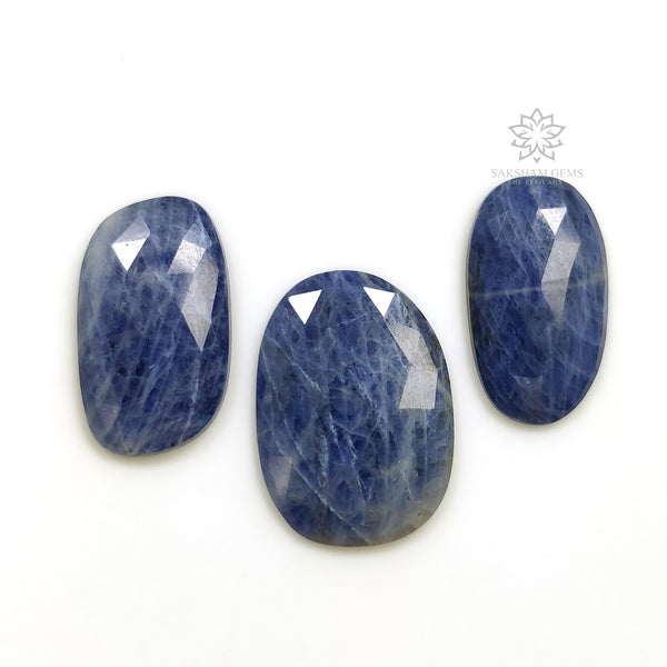Denim BLUE SAPPHIRE Gemstone Cut : 47.25cts Natural Untreated Sapphire Gemstone Rose Cut Uneven Shape 24*13.5mm - 26*19mm 3pcs For Jewelry