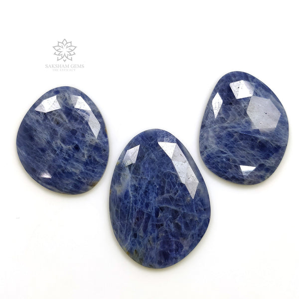 Denim BLUE SAPPHIRE Gemstone Cut : 86.85cts Natural Untreated Sapphire Gemstone Rose Cut Uneven Shape 27*22mm - 34*25mm 3pcs For Jewelry