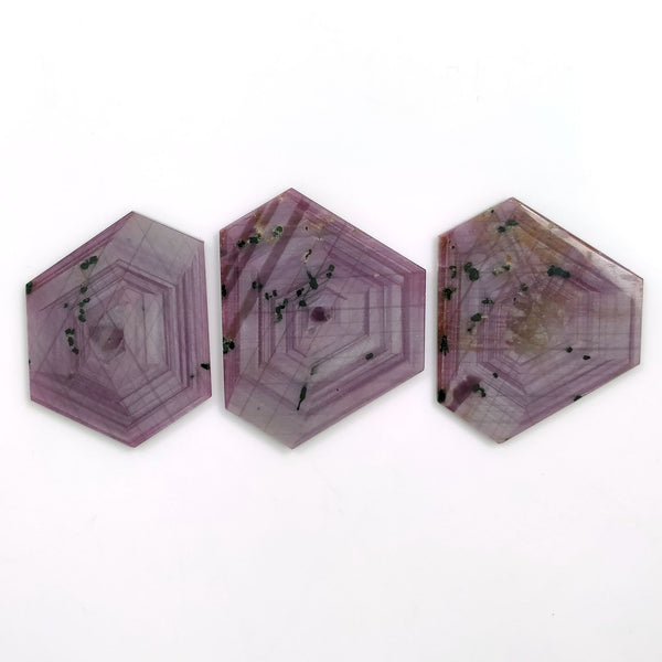 Rosemary Sheen PINK SAPPHIRE Gemstone Slices : 142.50cts Natural Untreated Sapphire Hexagon Flat Slice 39*30mm - 41*37mm 3pcs (With Video)