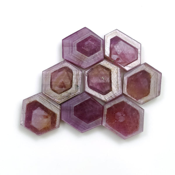 Rosemary Sheen PINK SAPPHIRE Gemstone Slices : 57.10cts Natural Untreated Sapphire Hexagon Flat Slice 13.5*11mm - 15*11mm 7pcs For Jewelry