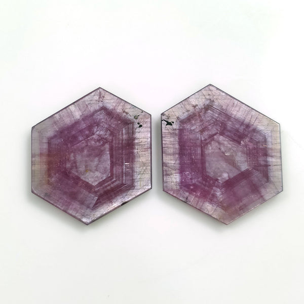Rosemary Sheen PINK SAPPHIRE Gemstone TRAPICHE : 63.20cts Natural Untreated Sapphire Hexagon Shape Flat Slices 29*24mm Pair For Jewelry