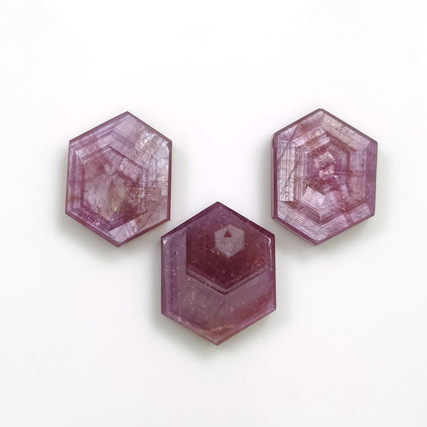 Rosemary Sheen PINK SAPPHIRE Gemstone TRAPICHE : 28.20cts Natural Untreated Sapphire Hexagon Flat Slices 15*12mm - 16*13mm 3pcs For Jewelry