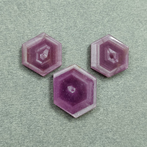 Rosemary Sheen PINK SAPPHIRE Gemstone Slices : 35.70cts Natural Untreated Sapphire Hexagon Flat Slices 16*14mm - 19.5*16mm 3pcs For Jewelry