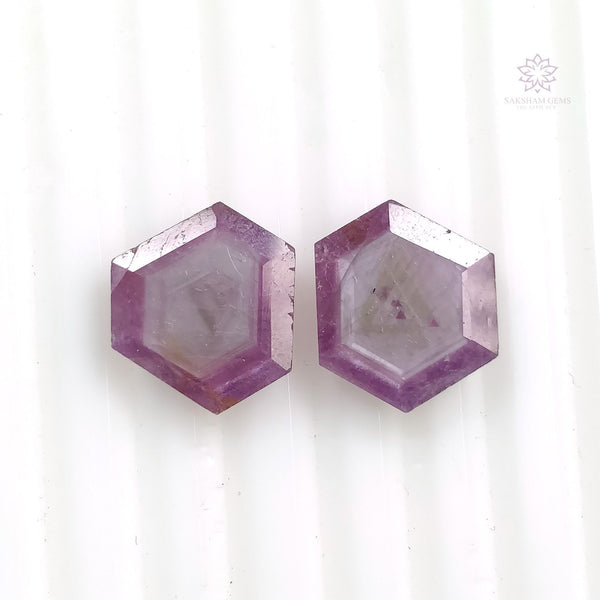 Raspberry Sheen PINK SAPPHIRE Gemstone Cut September Birthstone : 9.65cts Natural Untreated Unheated Sapphire Hexagon Shape Normal Cut 13*11mm Pair For Jewelry