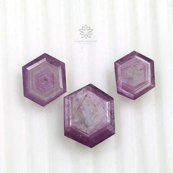 Raspberry Sheen PINK SAPPHIRE Gemstone Cut September Birthstone : 18.20cts Natural Untreated Sapphire Hexagon Shape Normal Cut 12*9.5mm - 16*12mm 3pcs For Jewelry
