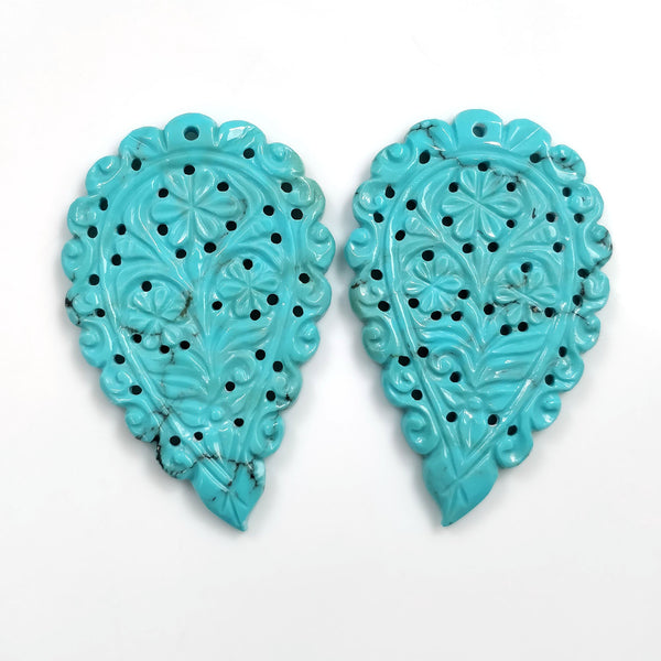 Kingman ARIZONA Blue TURQUOISE Carving : 110.80cts Natural Sleeping Beauty Turquoise Hand Carved Indian LEAVES 56*36mm Pair For Earring