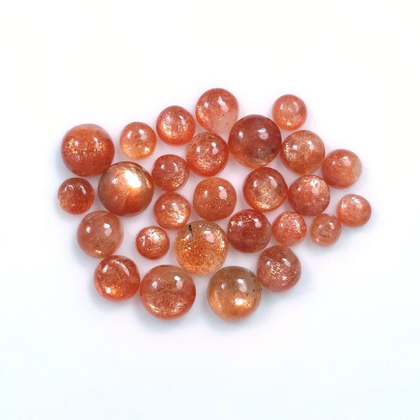 Chatoyant ORANGE SUNSTONE Gemstone Cabochon : 12.95cts Natural Untreated Unheated Sunstone Cabochon Round Shape 3mm- 6mm 27pcs For Jewelry