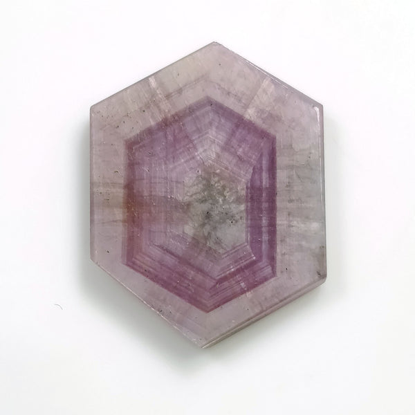 Rosemary Sheen PINK SAPPHIRE Gemstone TRAPICHE : 22.92cts Natural Untreated Sapphire Gemstone Hexagon Shape Flat Slice 27*20mm For Jewelry