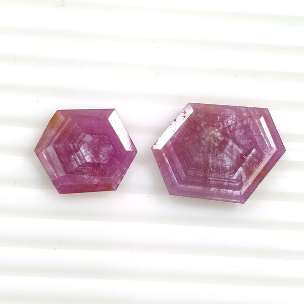 Raspberry Sheen PINK SAPPHIRE Gemstone Normal Cut TRAPICHE : 24.50cts Natural Sapphire Hexagon Shape 18*15mm - 24*17mm 2pcs (With Video)