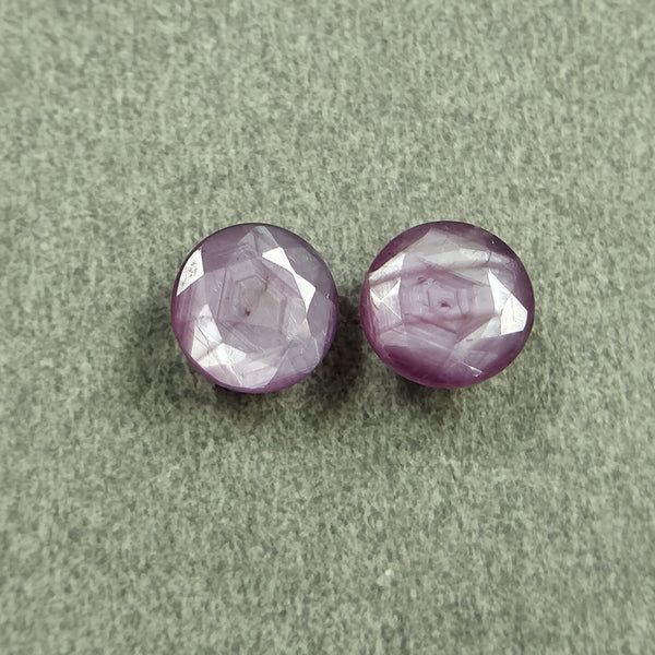 Raspberry Sheen PINK SAPPHIRE Gemstone Cut September Birthstone : 3.70cts Natural Untreated Sapphire Round Shape Normal Cut 7mm Pair For Jewelry