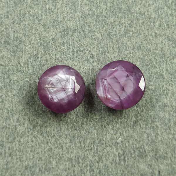 Raspberry Sheen PINK SAPPHIRE Gemstone Cut September Birthstone : 4.30cts Natural Untreated Sapphire Round Shape Normal Cut 7mm Pair For Jewelry
