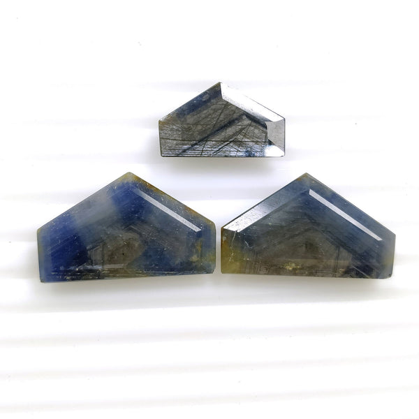 BLUE SAPPHIRE Gemstone Cut : 42cts Natural Untreated Unheated Sheen Sapphire Gemstone Normal Cut Uneven Shape 11*18mm-15*20mm For Jewelry