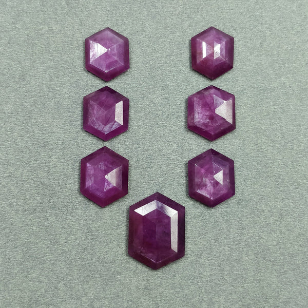 Raspberry Sheen PINK SAPPHIRE Gemstone Cut September Birthstone : 52.45cts Natural Untreated Sapphire Hexagon Shape Step Cut 15*12mm - 20*14.5mm 7pcs For Jewelry