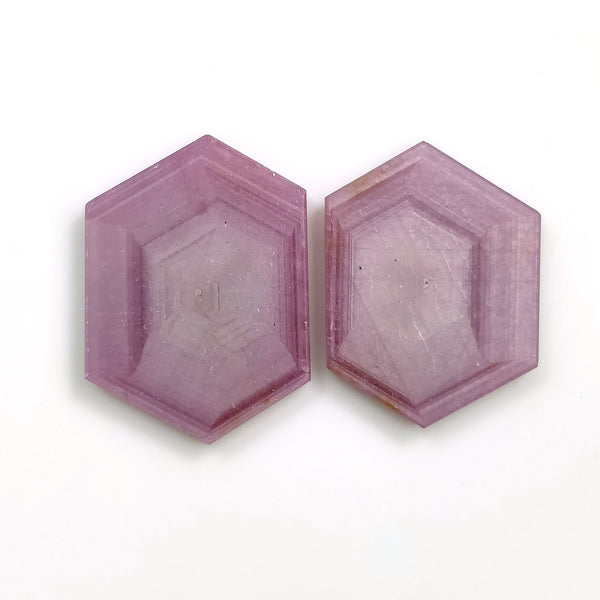 Rosemary Sheen PINK SAPPHIRE Gemstone Slices : 50.00cts Natural Untreated Sapphire Hexagon Flat Slices 25*19mm - 27*20mm 2pcs For Jewelry