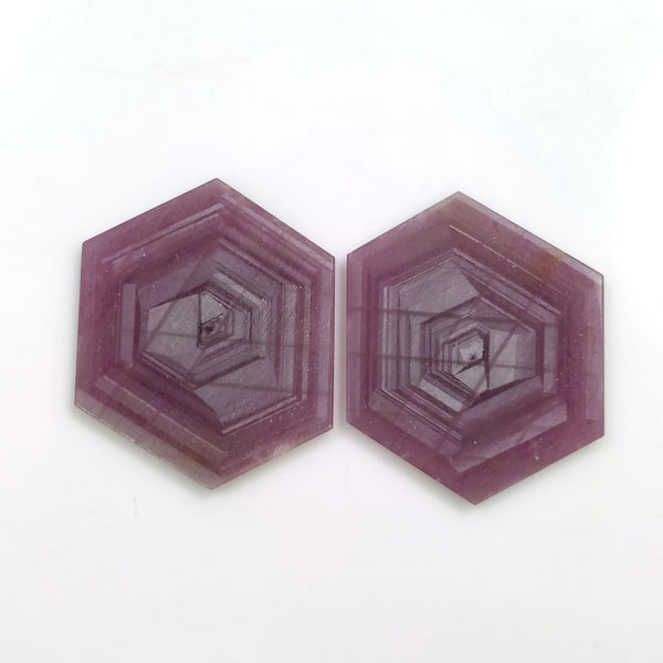 Rosemary Sheen PINK SAPPHIRE Gemstone Slices : 68.50ct Natural Untreated Sapphire Gemstone Hexagon Shape Flat Slice 34*29mm Pair For Jewelry