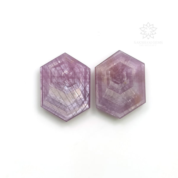 Rosemary Sheen PINK SAPPHIRE Gemstone TRAPICHE : 16.40cts Natural Untreated Sapphire Gemstone Hexagon Flat Slices 17*12mm Pair For Jewelry