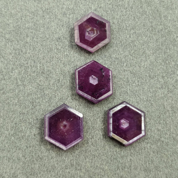 Rosemary Sheen PINK SAPPHIRE Gemstone Slices : 21.00cts Natural Untreated Sapphire Hexagon Flat Slice 11*10mm - 12*10mm 4pcs For Jewelry