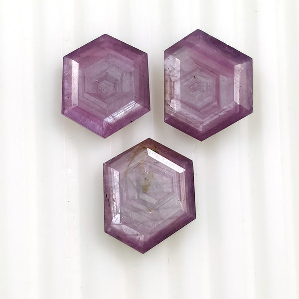 Raspberry Sheen PINK SAPPHIRE Gemstone Cut September Birthstone : 16.35cts Natural Untreated Sapphire Hexagon Shape Normal Cut 13*12mm - 14*11.5mm 3pc For Jewelry