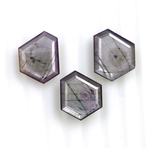 Raspberry Sheen PINK SAPPHIRE Gemstone Cut September Birthstone : 21.35ct Natural Untreated Sapphire Hexagon Shape Normal Cut 14*11.5mm - 15*12mm 3pcs For Jewelry