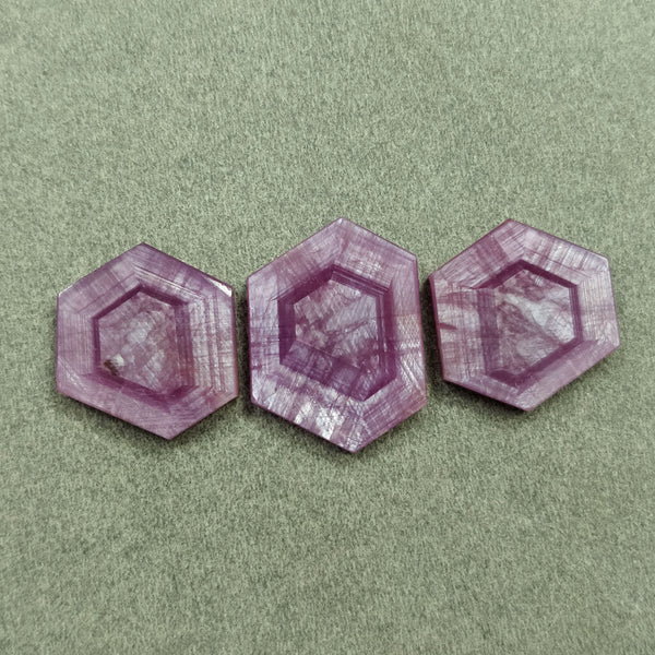 Rosemary Sheen PINK SAPPHIRE Gemstone TRAPICHE : 52.50cts Natural Untreated Sapphire Hexagon Flat Slices 21*17mm - 24*18mm 3pcs For Jewelry