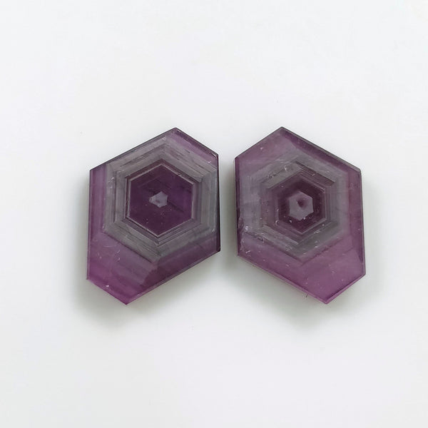 Rosemary Sheen PINK SAPPHIRE Gemstone Slices : 14.50cts Natural Untreated Sapphire Hexagon Shape Flat Slices 14*12mm Pair For Jewelry