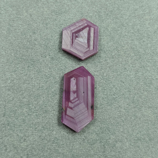 Rosemary Sheen PINK SAPPHIRE Gemstone Slices : 22.35cts Natural Untreated Sapphire Hexagon Flat Slices 17*14mm - 25*12mm 2pcs For Jewelry