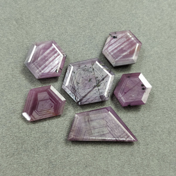 Raspberry Sheen PINK SAPPHIRE Gemstone Cut September Birthstone : 80.40cts Natural Untreated Sapphire Hexagon Shape Normal Cut 16*14mm - 28*14mm 6pcs For Jewelry