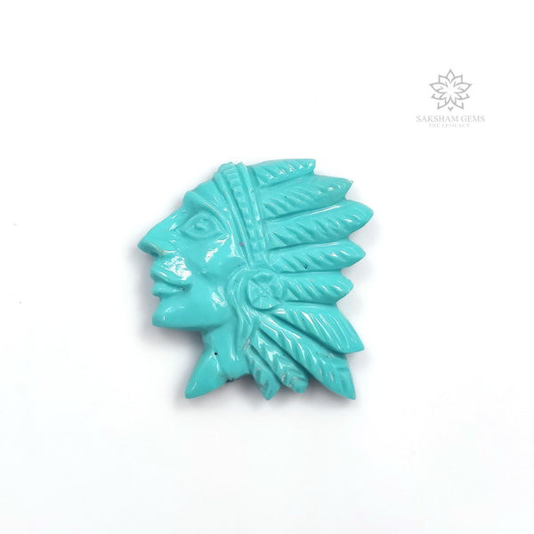 Kingman Arizona Blue TURQUOISE Gemstone Carving : 16.35cts Natural Sleeping Beauty Turquoise Hand Carved INDIAN HEAD 26*24mm For Jewelry