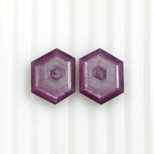 Raspberry Sheen PINK SAPPHIRE Gemstone Cut September Birthstone : 16.55cts Natural Untreated Sapphire Hexagon Shape Normal Cut 16*13mm Pair For Jewelry