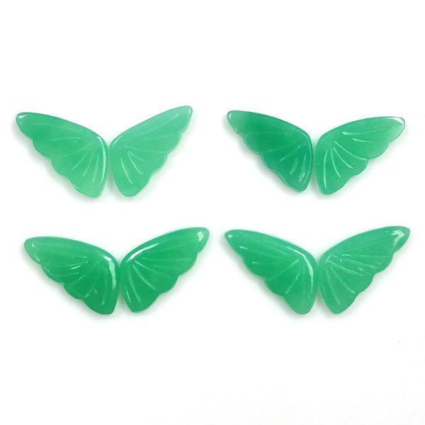 GREEN CHRYSOPRASE Gemstone Cabochon : 17.75cts Natural Untreated Chrysoprase Hand Carved BUTTERFLY 16*8mm 4 Pair For Jewelry