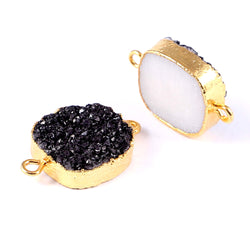 Square Black Druzy Earrings Bracelet Findings Connector Sparkly Square Electroplating Sugar Druzy  Boho Style Handmade Work Valentine Day