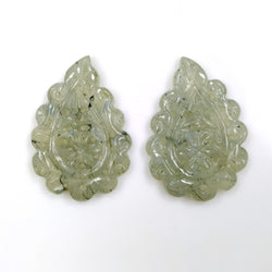 LABRADORITE Gemstone LEAF CARVING : 38.50cts Natural Untreated Labradorite Gemstone Hand Carved Indian Leaves 32*22mm Pair For Earrings