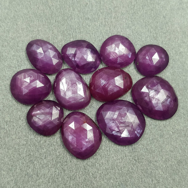 Raspberry Sheen PURPLE PINK SAPPHIRE Gemstone Cut September Birthstone : 71.50cts Natural Untreated Sapphire Uneven Rose Cut 11*10mm - 16*14mm 11pcs