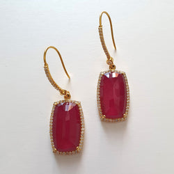 14K Gold Diamond Ruby Earring : 1.80
