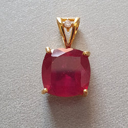 14K Gold Diamond Ruby Pendant : 0.90