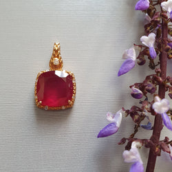 14k Gold Diamond Ruby Pendant : 0.80