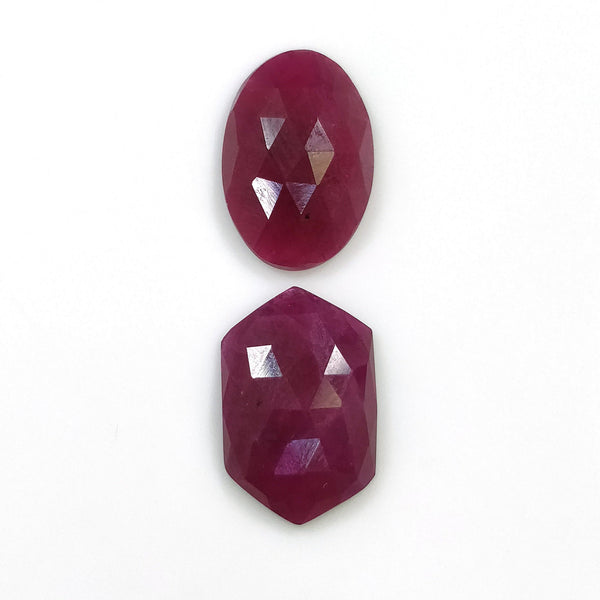 RED RUBY Gemstone Cut : 16.90cts Natural Untreated Ruby Gemstone Rose Cut Oval & Hexagon Shape 17*12mm - 18*12mm  2pcs For Jewelry
