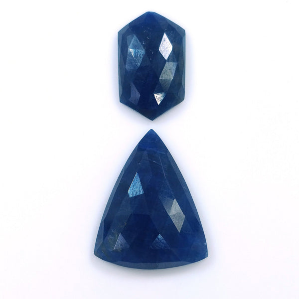 BLUE SAPPHIRE Gemstone Rose Cut : 34.90cts Natural Untreated Sapphire Triangle Hexagon Shapes 20*12mm - 25*20mm 2pcs (With Video)