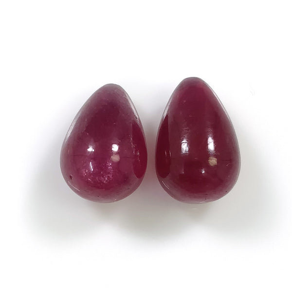 RED RUBY Gemstone Cabochon : 14.70cts Natural Ruby Tear Drop Cabochon Top Drilled 12mm Pair For Earring