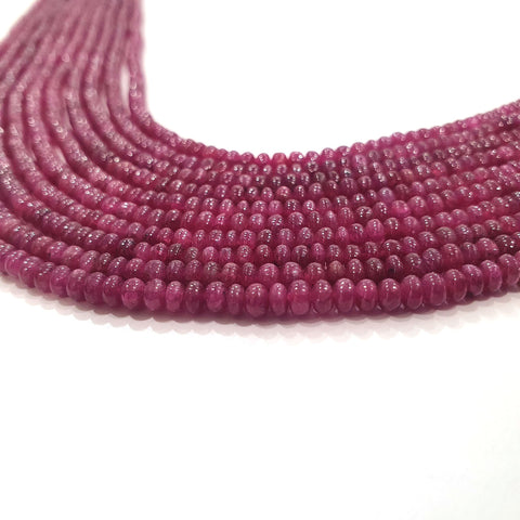 Ruby Gemstone Rondelle Beads : AAA 16