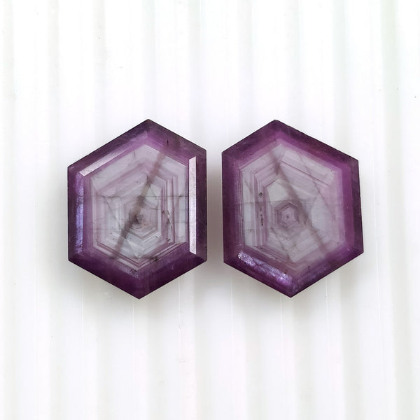 Raspberry Sheen PINK SAPPHIRE Gemstone Cut September Birthstone : 31.00cts Natural Untreated Sapphire Hexagon Shape Normal Cut 19.5*15mm Pair For Jewelry