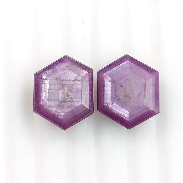 Raspberry Sheen PINK SAPPHIRE Gemstone Cut September Birthstone : 11.70cts Natural Untreated Sapphire Hexagon Shape Normal Cut 13*10.5mm Pair For Jewelry